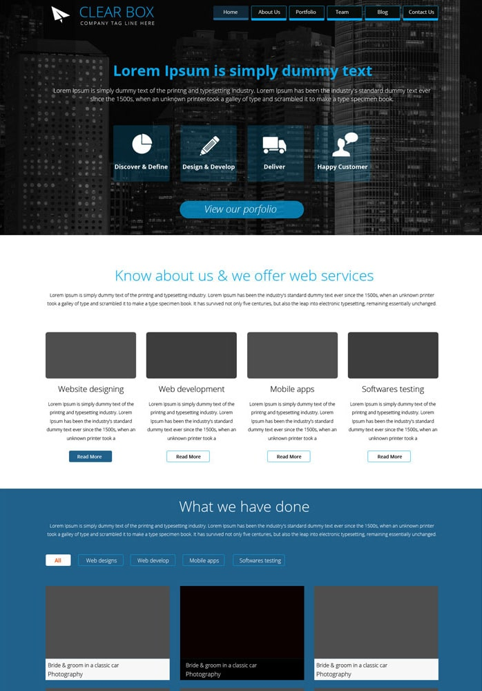 Clear Box – Free Parallax Web Template PSD