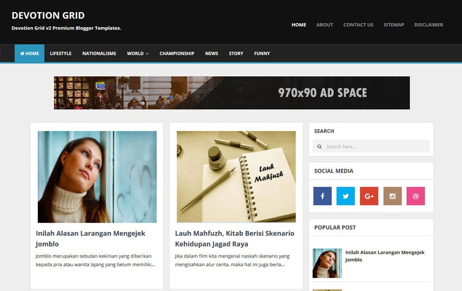 Devotion Responsive Blogger Template