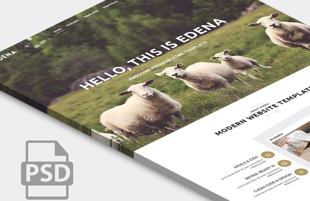 Edena - Free Website Template Home Page PSD