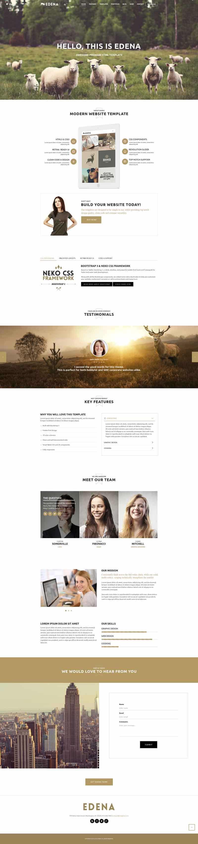 Edena - Free Website Template PSD