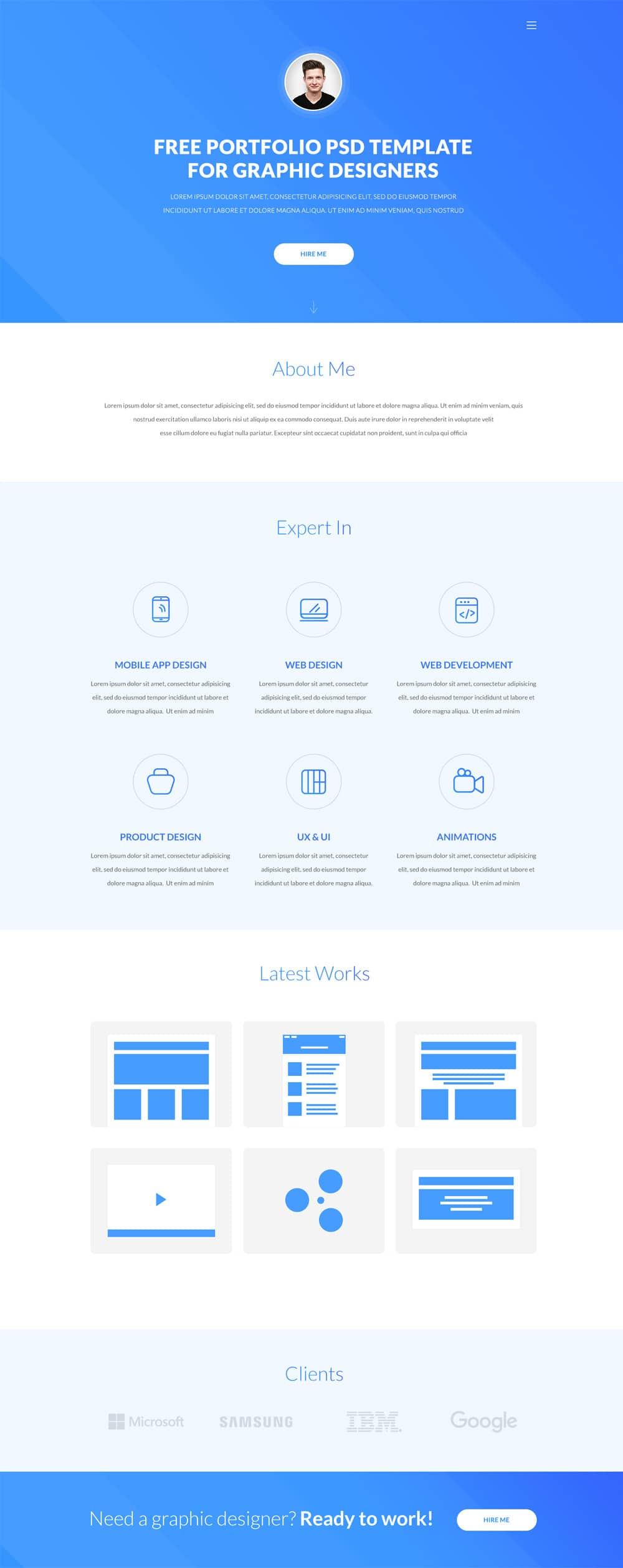 Free One Page Resume Website Template    One Page Resume
