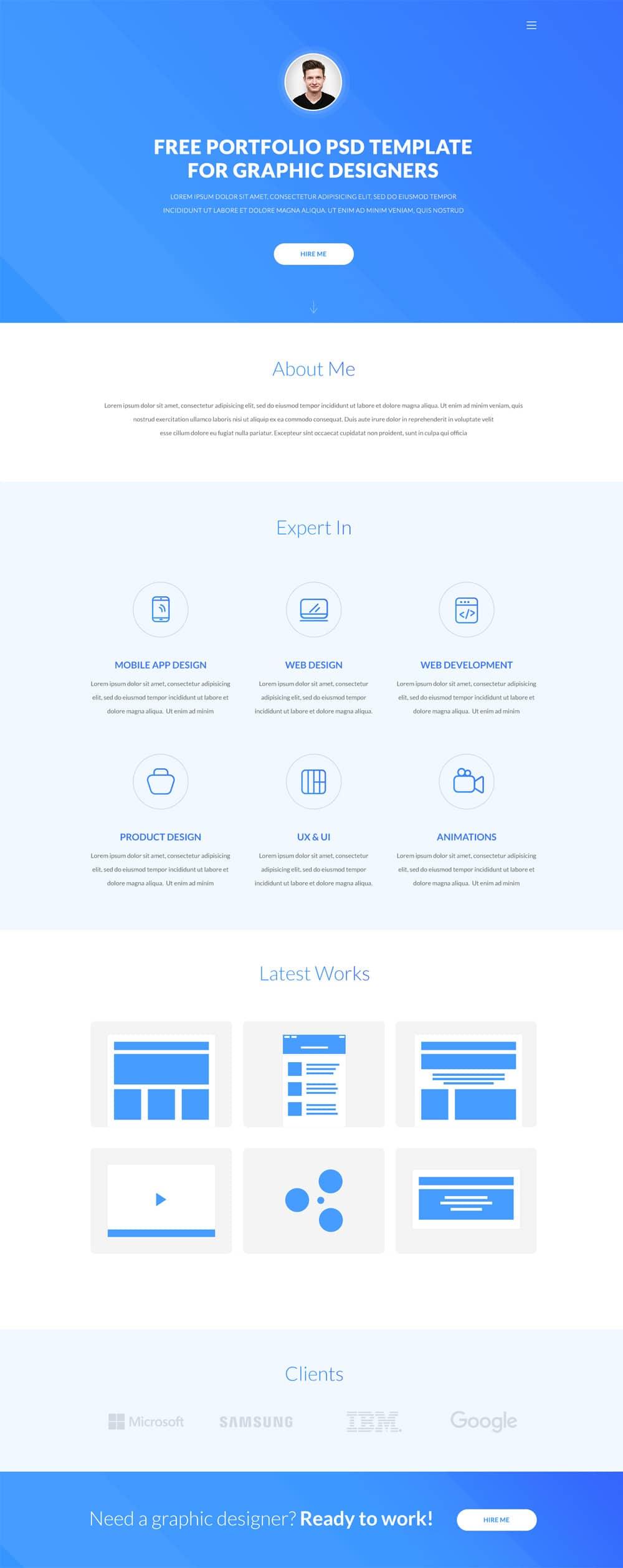 Eskulap Free One page Portfolio Web Template PSD