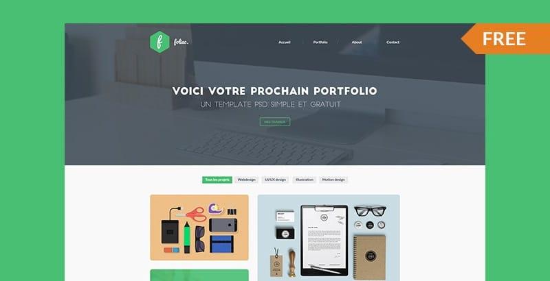 Foliac - Free Portfolio Template PSD