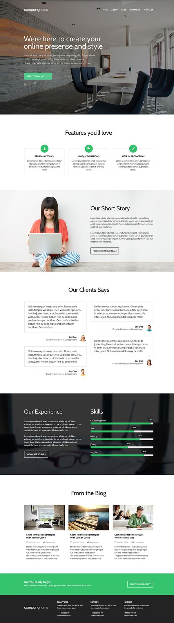 Fre Business Website Template PSD