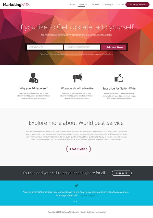 Free Business Landing Page Web Template PSD