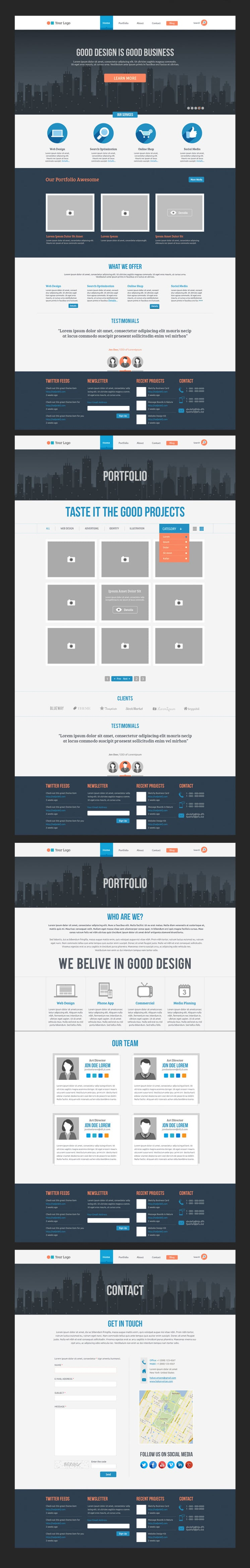 Free Flat Website Template PSD
