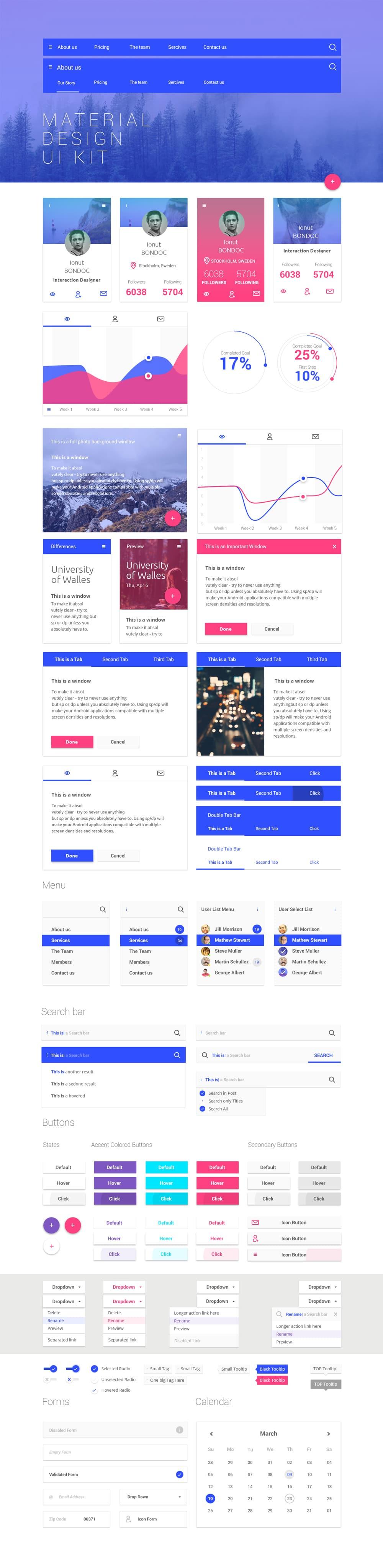 Free Material Design UI Kit PSD