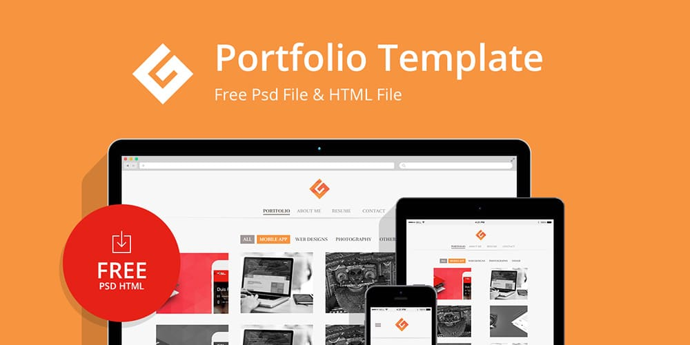 Free portfolio website templates psd css author for E portfolio templates free