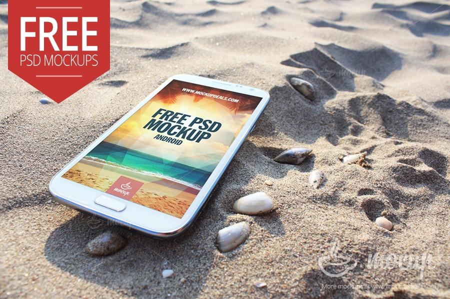 Free Samsung Note 2 Mockup Beach