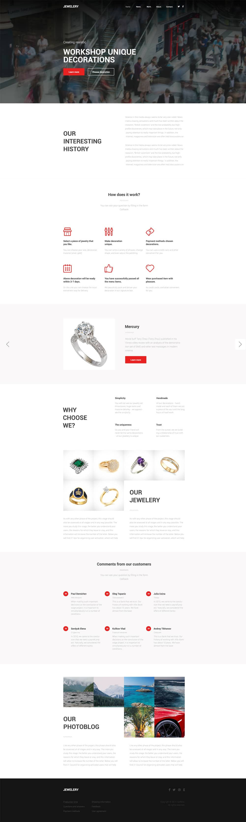 Jewelery Free Business Web Template PSD