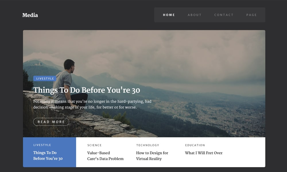 Media - Free Web Template PSD