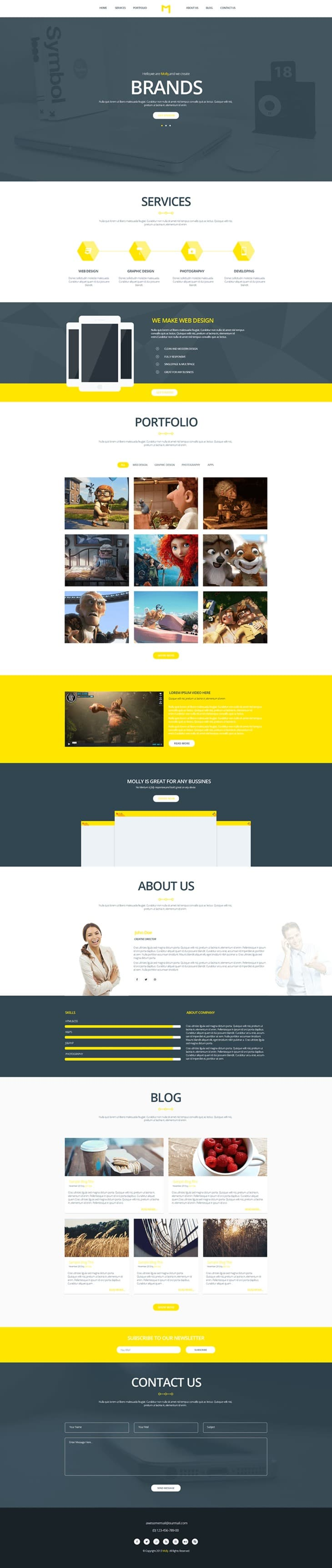 Molly - Free Single Webpage Template PSD