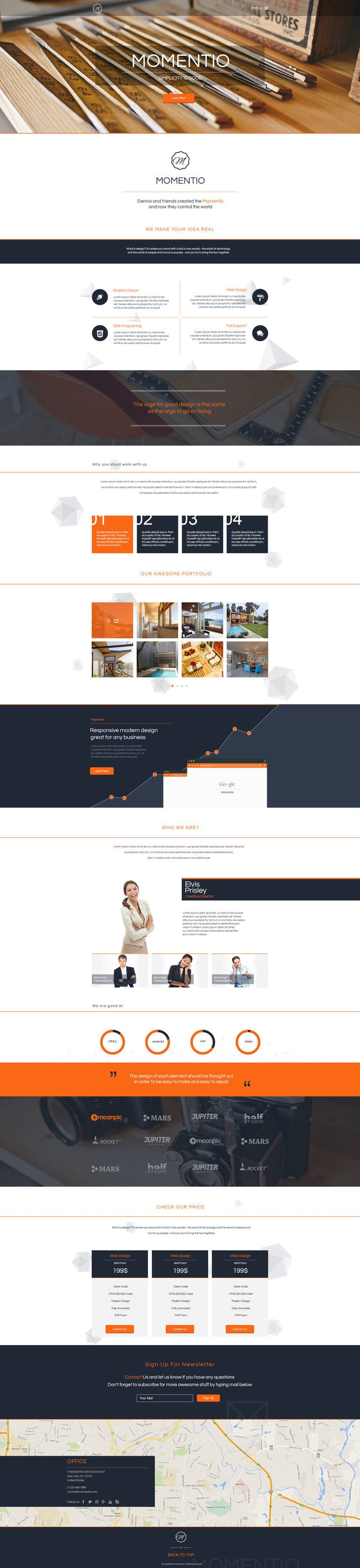 Momentio - Single Page Web Template PSD
