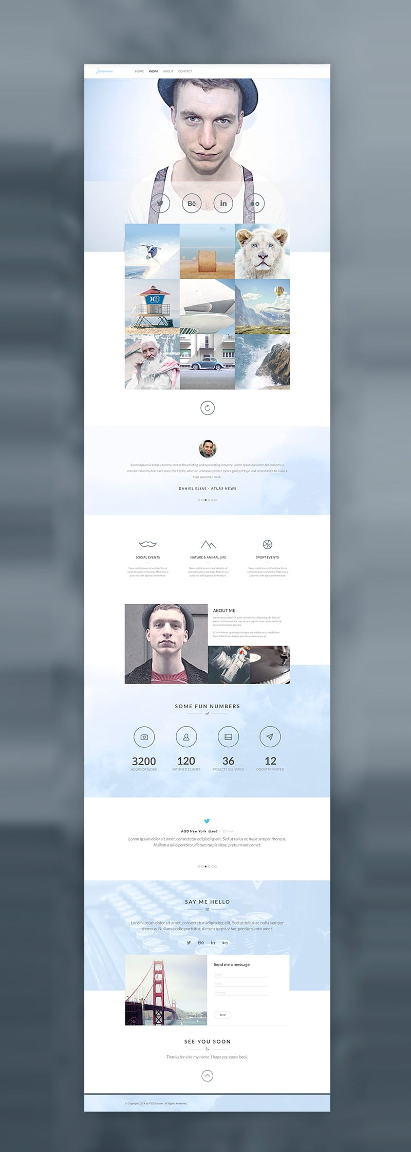 Photographer Web Template Free PSD