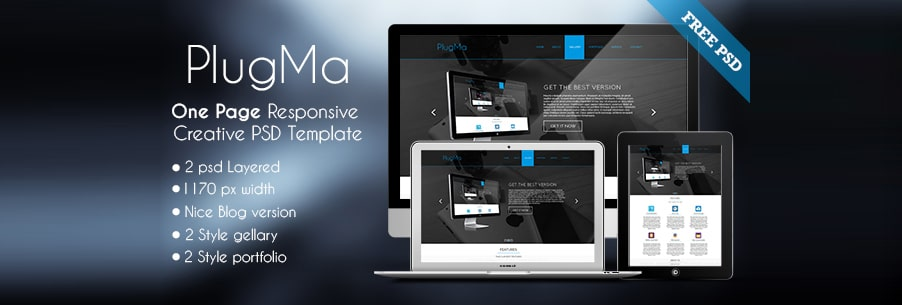 Plugma One Page Reponsive Free Web Template PSD