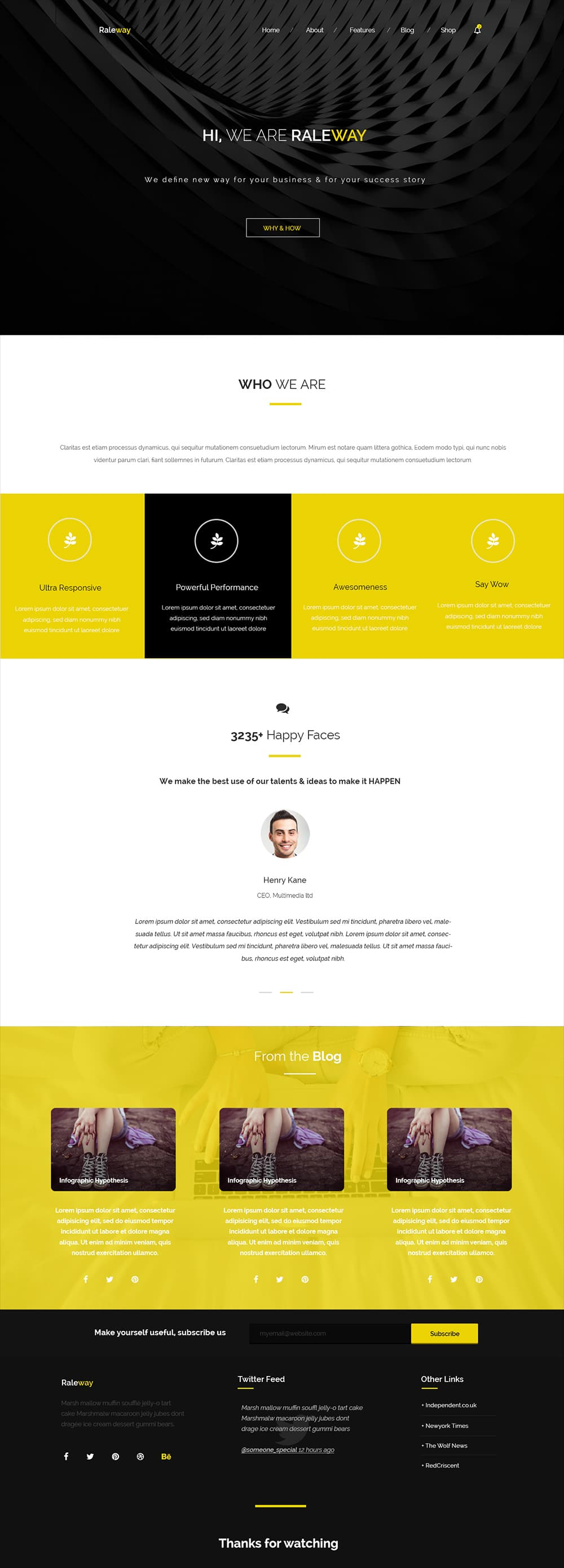 Raleway - Free PSD template for corporate agency