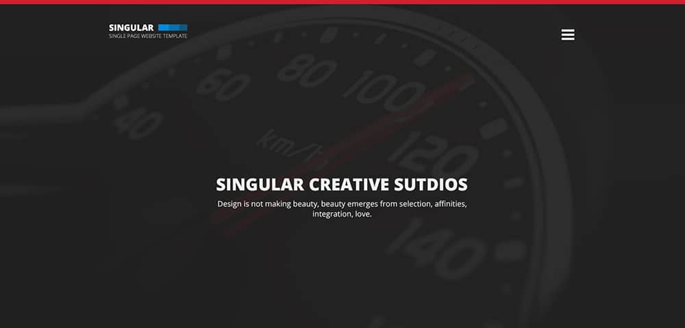 Singular - Free One Page Website Template PSD