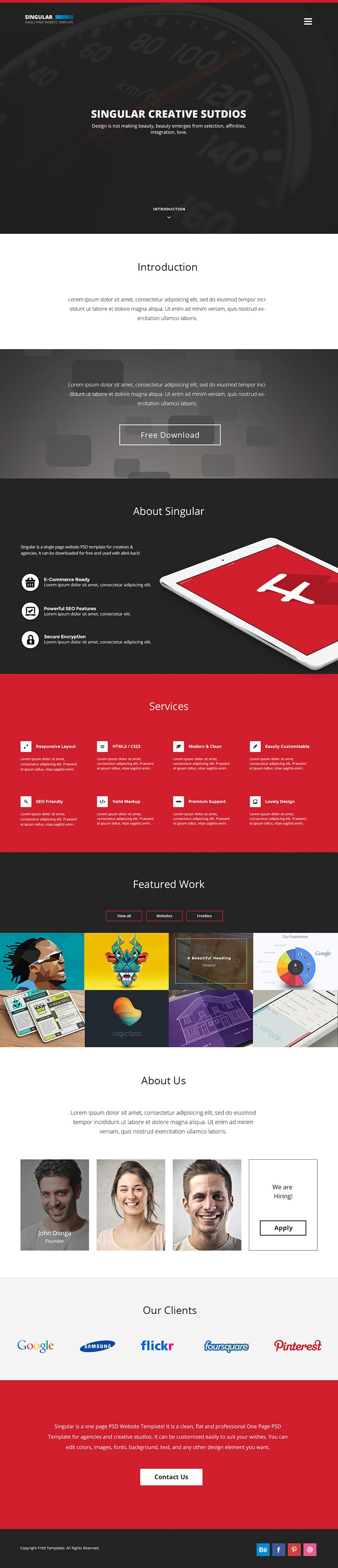Singular-Free-One-Page-Website-Template