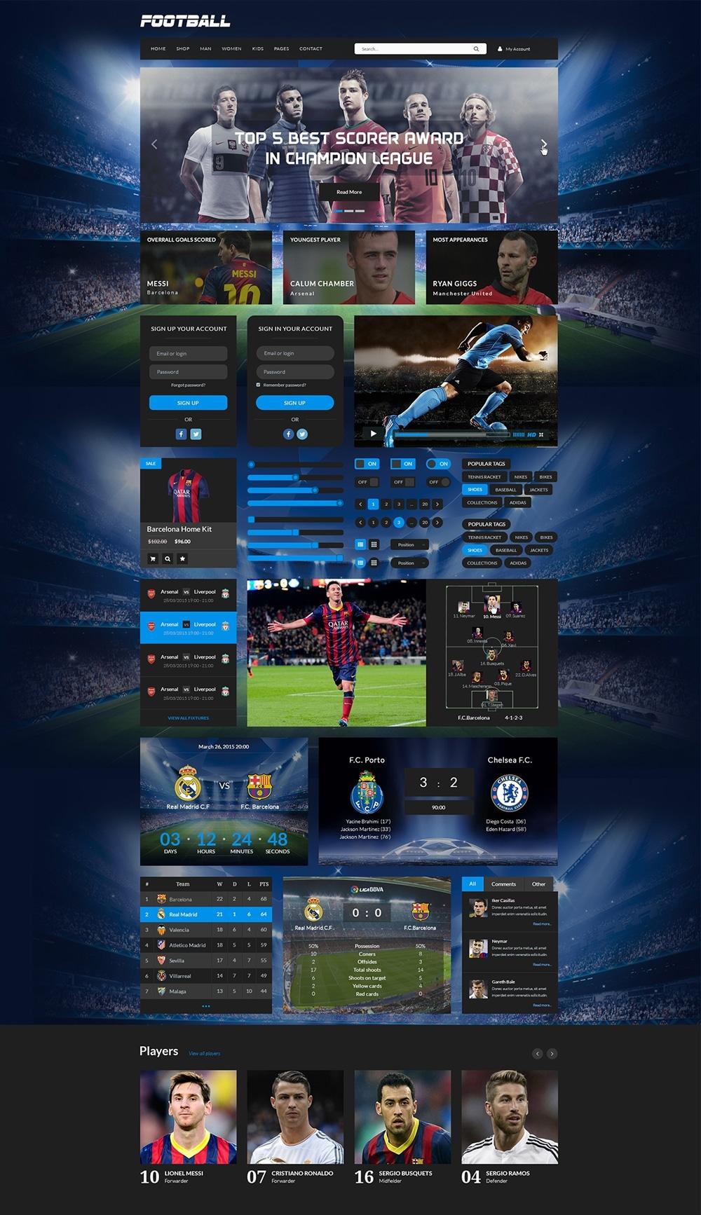 Sport Free UI Kit PSD