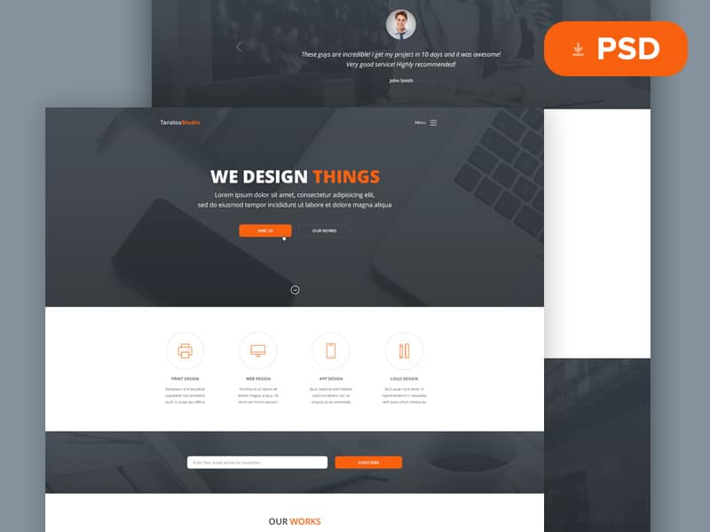 Tanatos Free Web Template PSD
