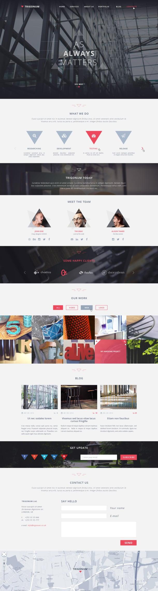 Trigonum – Free One Page Web Template PSD