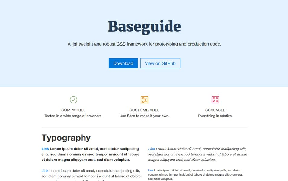 100 best css frameworks for responsive design baseguide is a lightweight and robust css framework powered by sass it brings together all essential base components in a small yet powerful package malvernweather Gallery