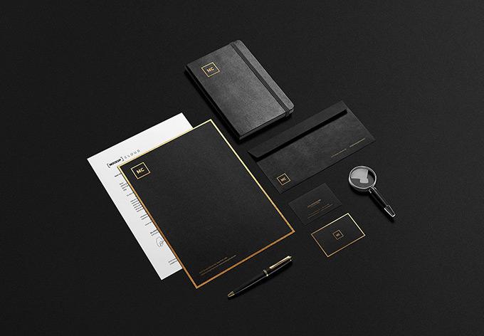 Black + Gold Stationary Mockup