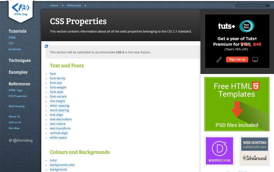 CSS Properties List