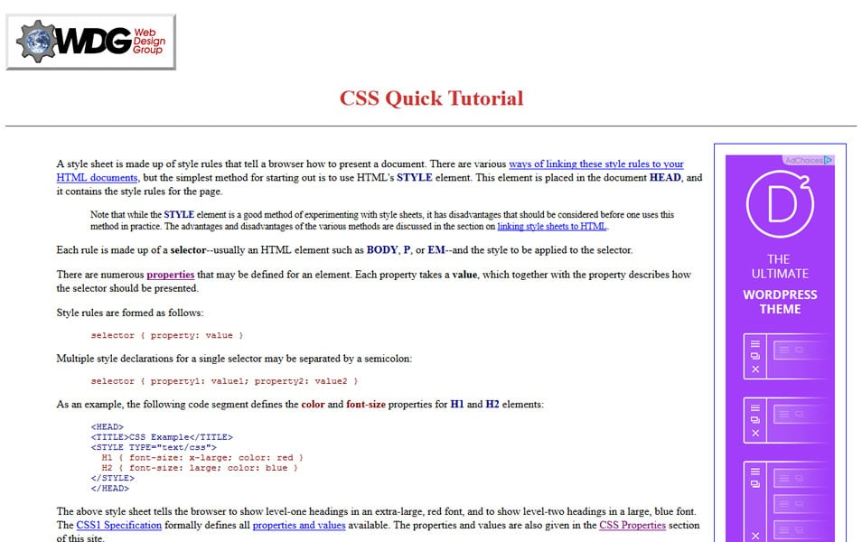 CSS Quick Tutorial | Web Design Group