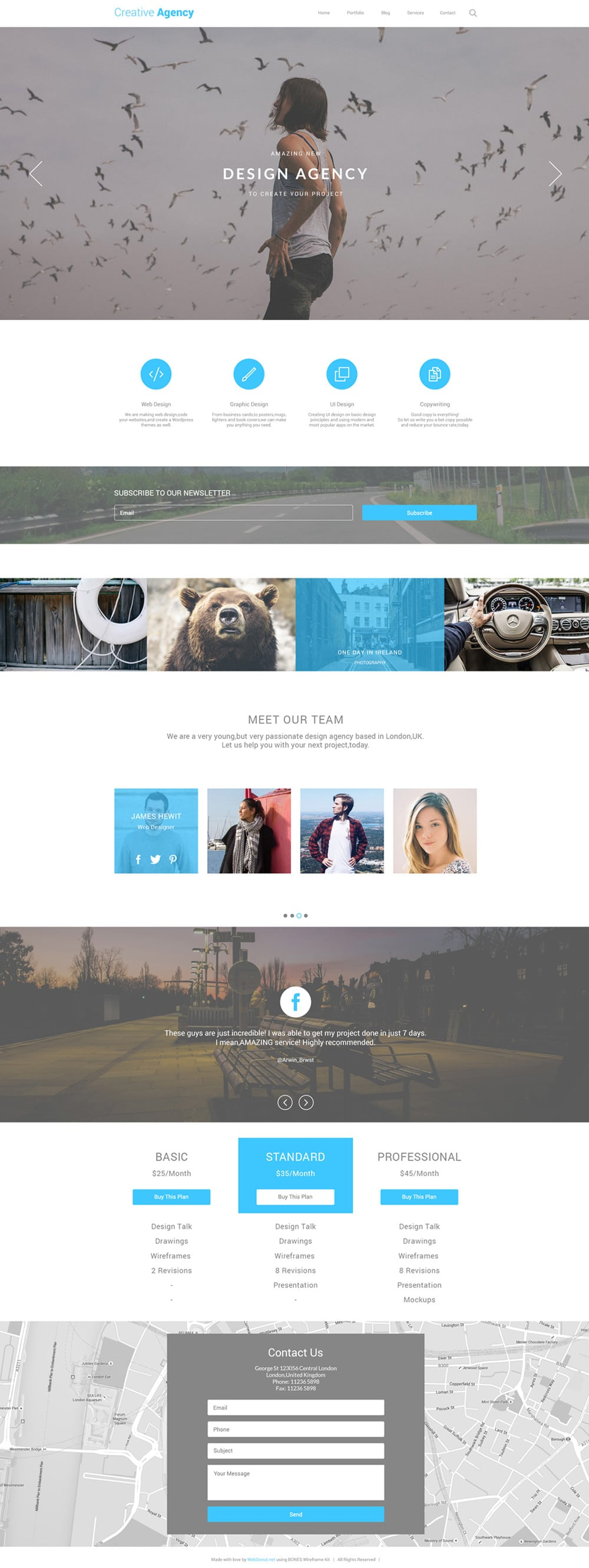 Creative Agency One Page Template PSD