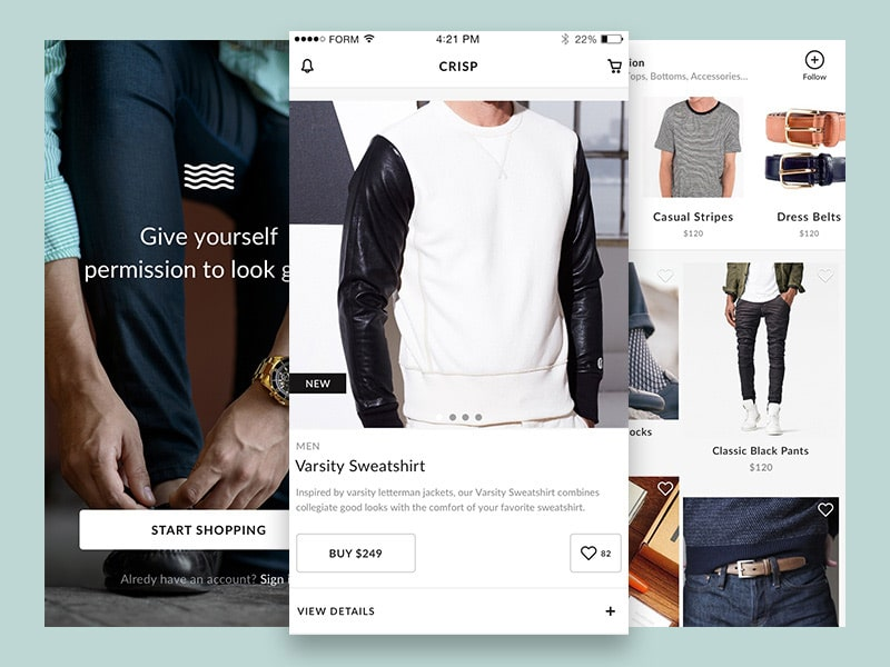 Crisp - Free Ecommerce UI Kit for Sketch
