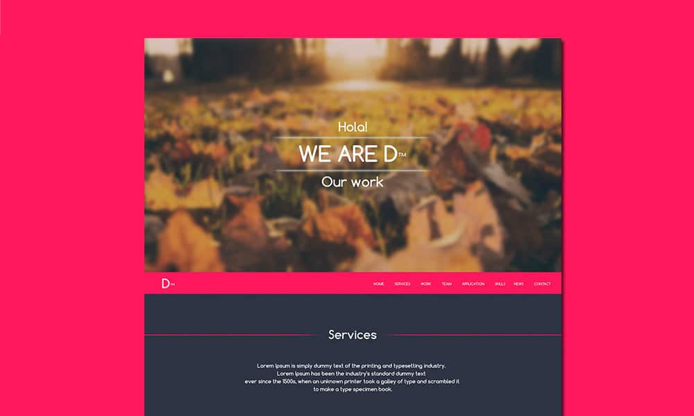 D™ - Free Onepage Web Template PSD