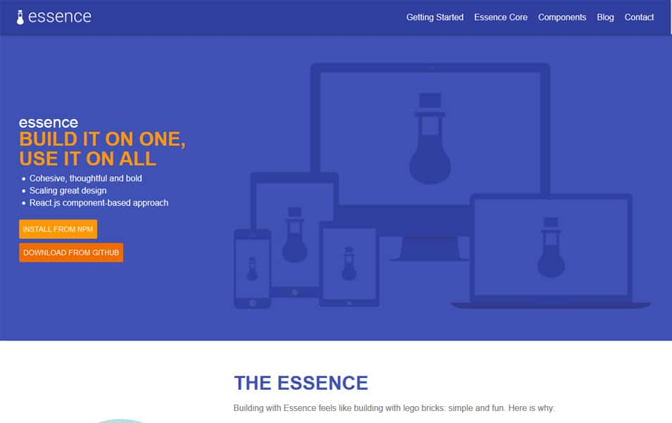 100 best css frameworks for responsive design essence is a css framework that implements the guidelines from google material design specification using facebooks reactjs library malvernweather Image collections