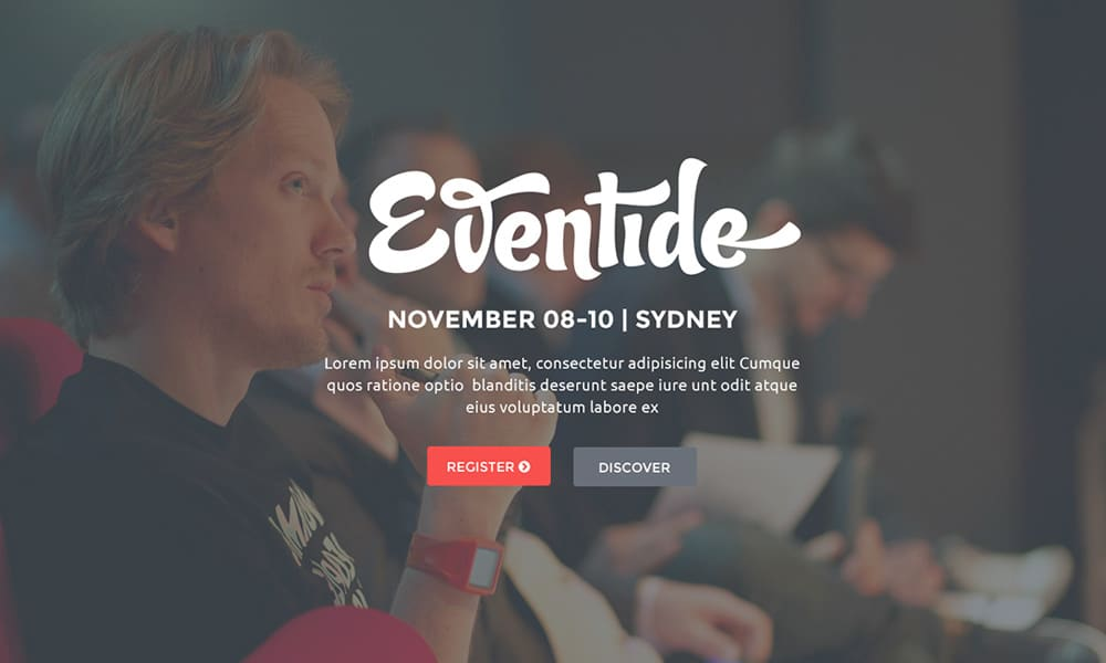 Eventide - Free Landing Page Web Template PSD