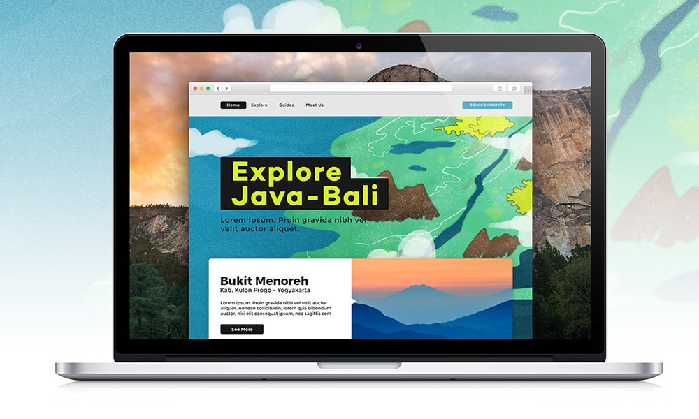 Explore Java Bali Free Web Template PSD
