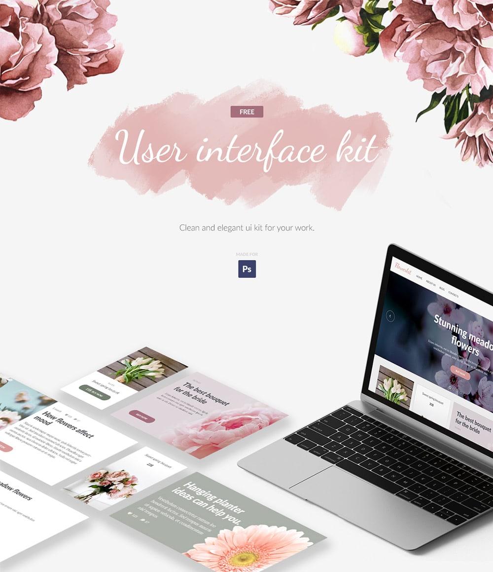 Flowerkit Free UI Kit PSD