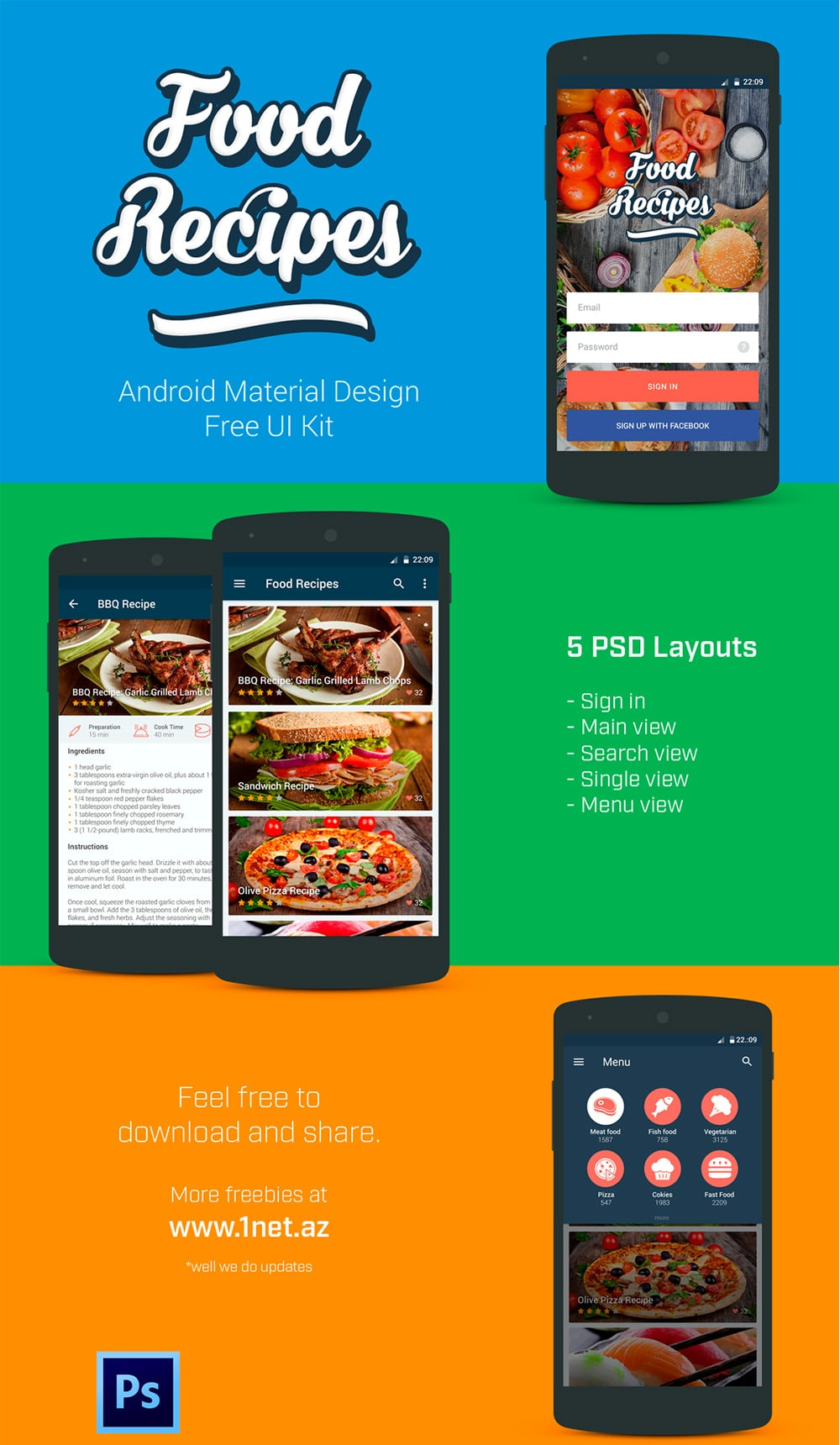Food Recipes Free UI Kit PSD