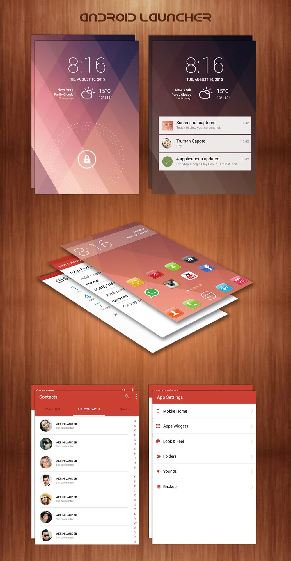 Free Android Launcher UI Kit PSD