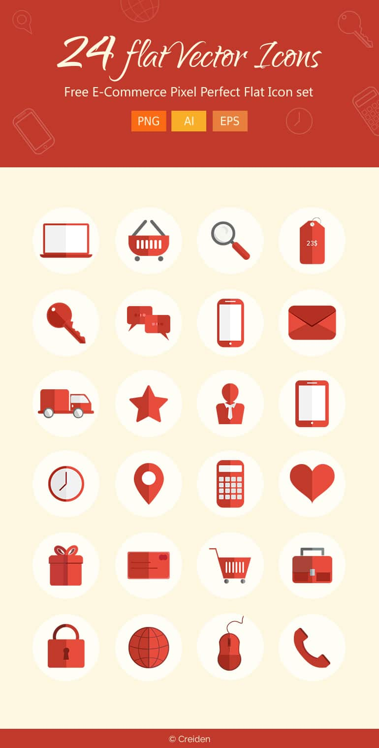 Free E-Commerce Pixel Perfect Flat Icons