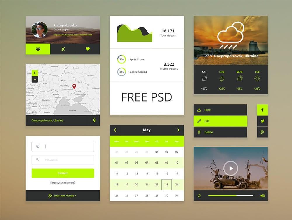 Free Minimal UI Kit PSD