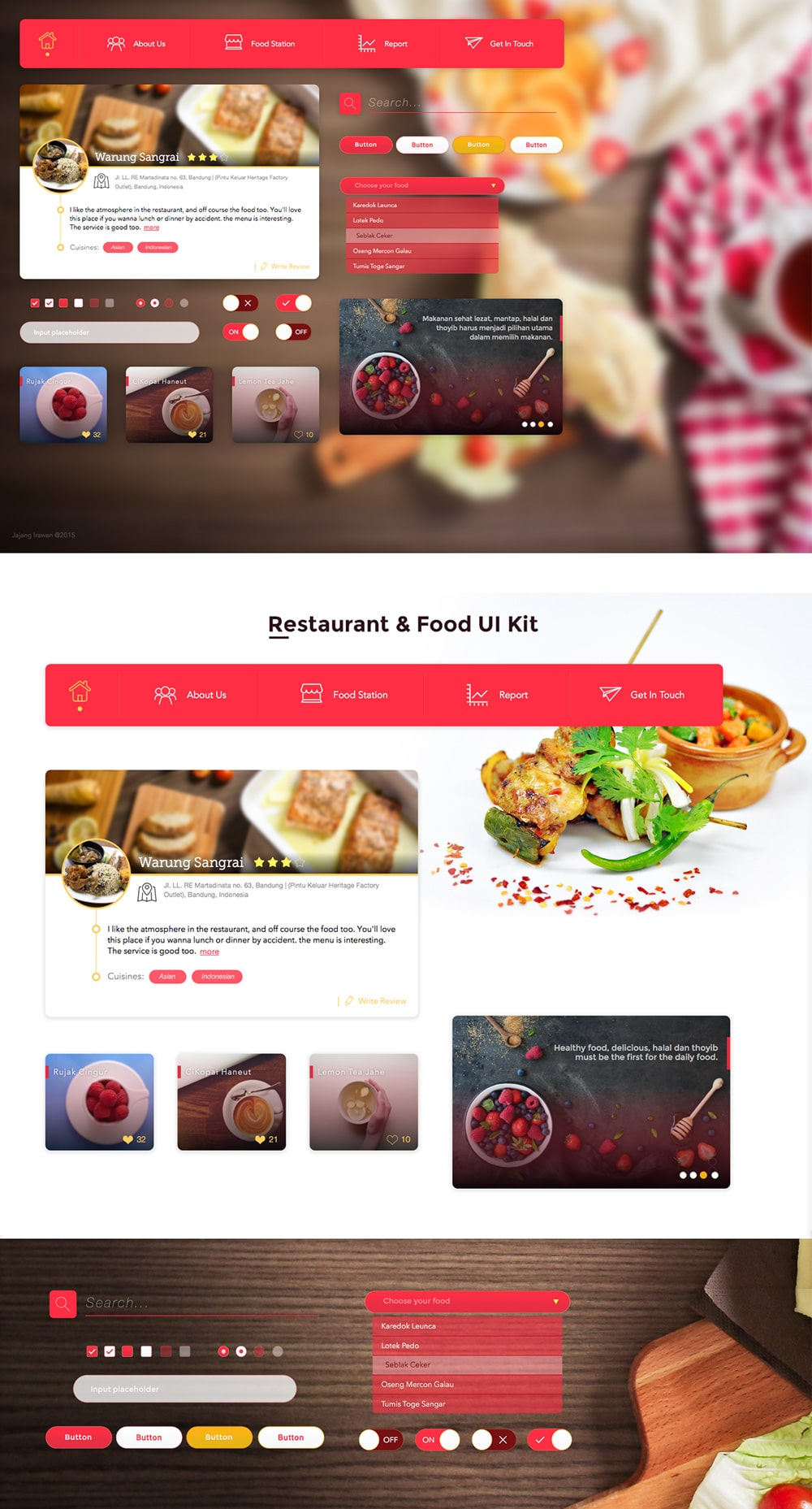 Free Restaurant and Food UI KIT