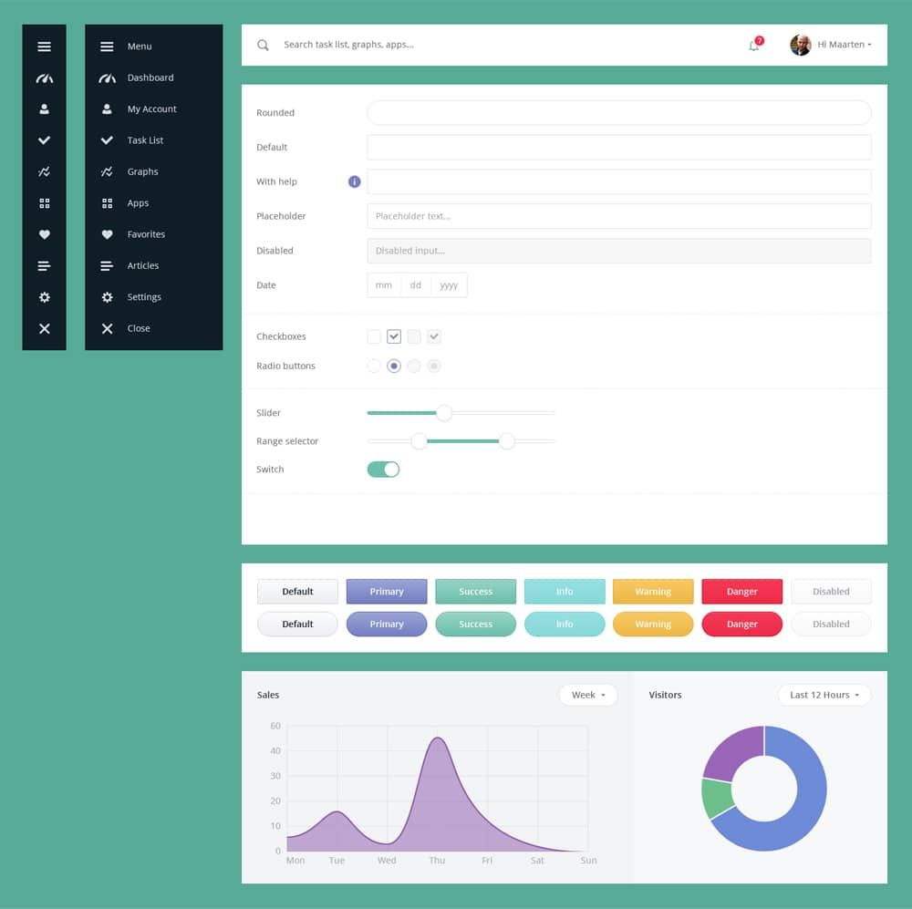 Free UI Kit PSD for Dashboard
