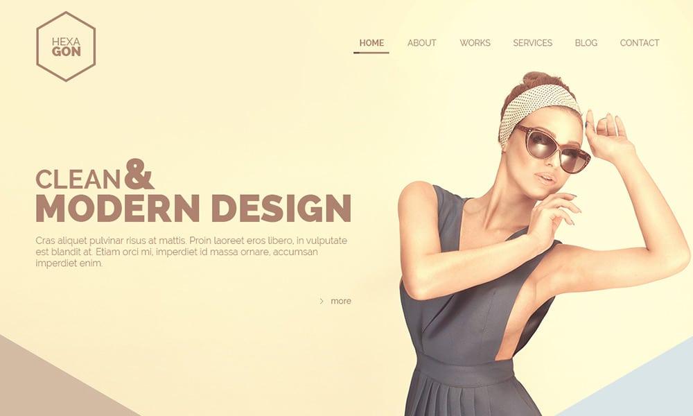 Hexagon - Free One Page Portfolio Web Template PSD