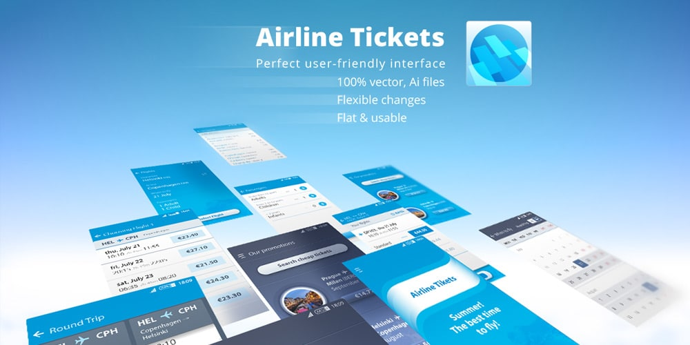 Mobile App Vector UI for Booking Airline Tickets