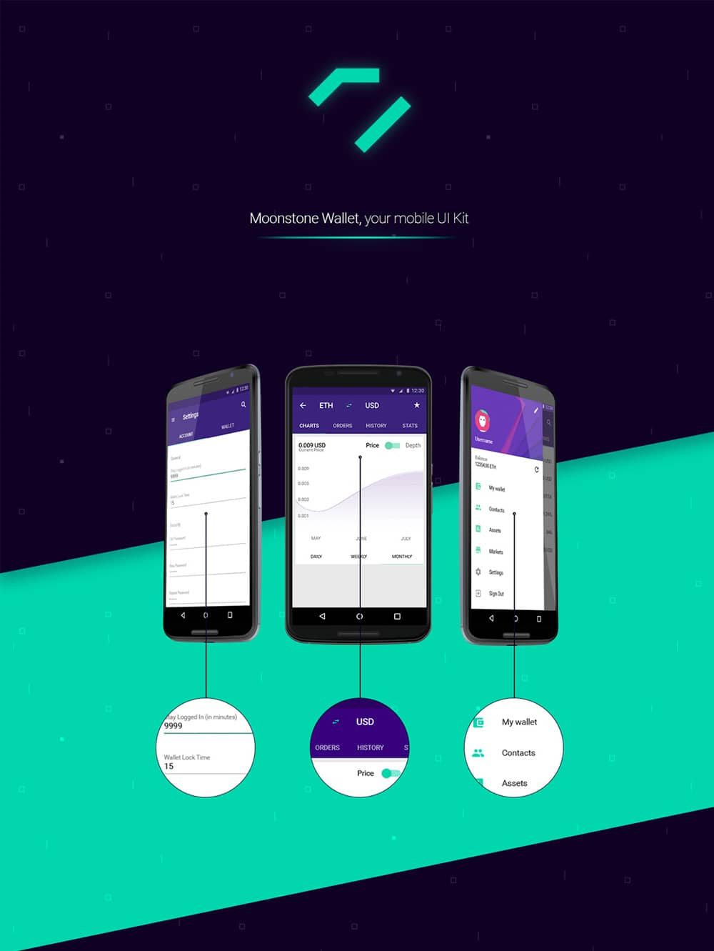 Moonstone Wallet- Free Mobile UI KitMoonstone Wallet- Free Mobile UI Kit