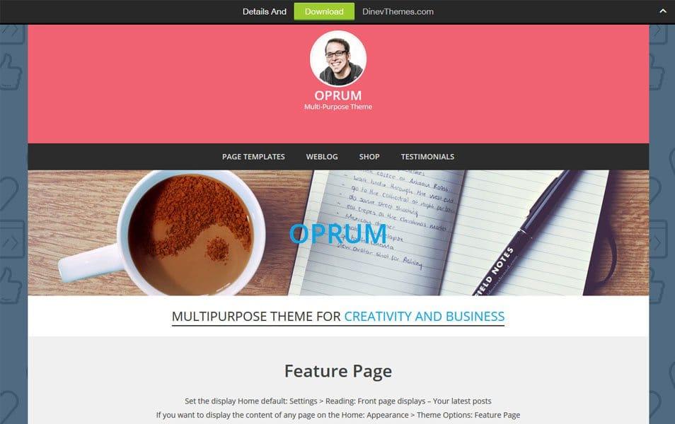 Oprum Responsive WordPress Theme