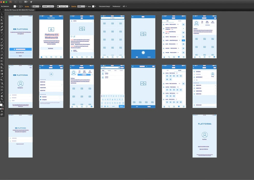 Platforma iOS and web wireframe kits