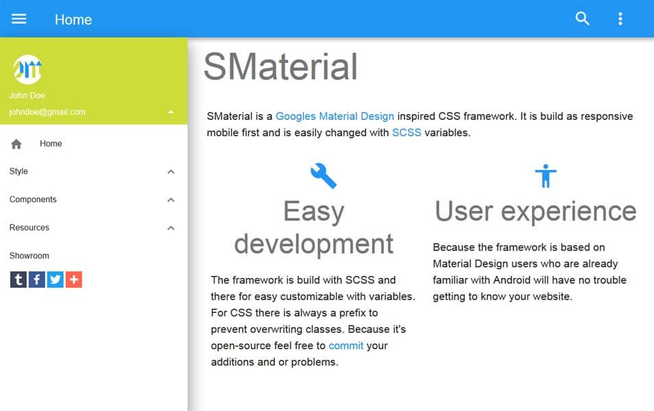 100 best css frameworks for responsive design smaterial the googles material design inspired css framework malvernweather Gallery
