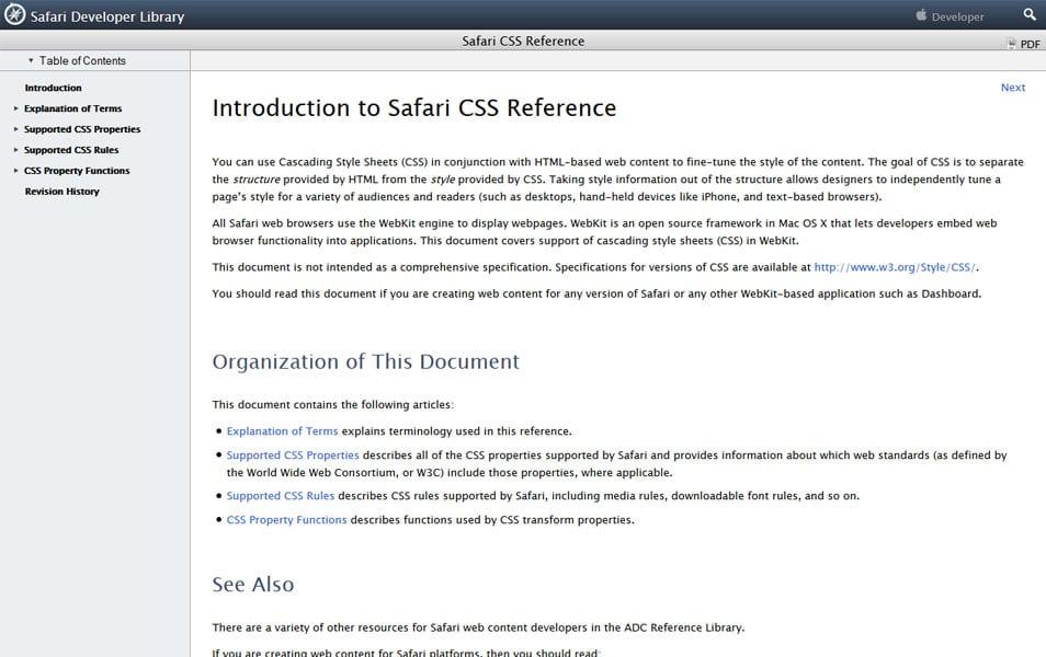 Safari CSS Reference