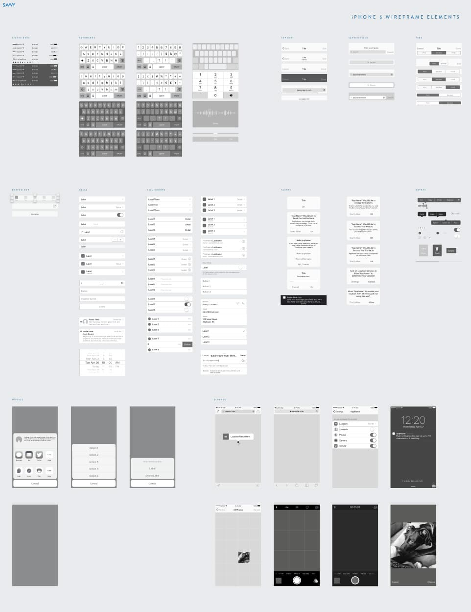 Savvy - iOS Wireframe Kit for Sketch